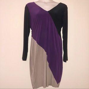 Tri-Color Long Sleeve Dress